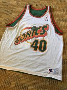 f0a26fc43d21 Sean-Kemp-Reversible-Champion-Jersey-Seattle-Super-Sonics-Vintage-Rare-Size -52