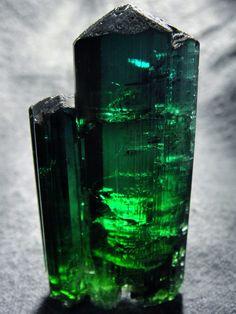 Tourmaline var. Elbaite bluish-green crystals / Manoel Mutuca Mine, Virgem da Lapa, Jequitinhonha valley, Minas Gerais, Brazil