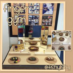 Balance the marbles, nuggets on the golf tees.  Finger Gym