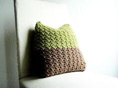 Kissen - Häkelkissen, Grün, Braun, 40 cm x 40 cm