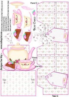 Afternoon Tea Box Card on Craftsuprint designed by Sue Way - A very special card for a ladies birthday. This box card is so easy to make, but so different too. The card folds flat for posting and when its opened up it looks like a gift box with a an afternoon tea setting, complete with cupcake, popping out of the top! Simply print onto card