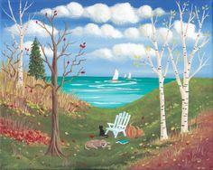 Favorite Chair Autumn Landscape Folk Art Print by KimsCottageArt