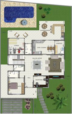 Boa gostei. House Layout Design, House Layouts, Future House, My House, 2 Bedroom House Plans, Architectural House Plans, Fantasy House, Modern House Plans, My Dream Home