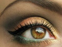 Dark green eyeliner. Perfect for making hazel-brown eyes 'pop'.- finally know how to use orange and yellow for this spring/summer