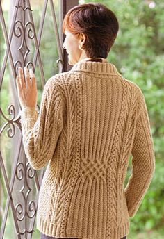 Japanese knitting pattern for cabled cardigan.