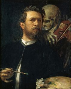 Arnold Bocklin -Selbstporträt mit fiedelnder Tod (Self-Portrait with Death playing the Fiddle); Alte Nationalgalerie, Berlin, Germany; 1872
