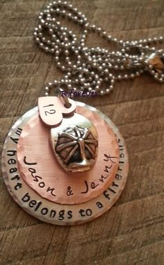 Personalized Firefighter Necklace My Heart Belongs to by Rforever