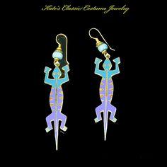 Vintage Laurel Burch Enamel Dangle Earrings-LIZARDO