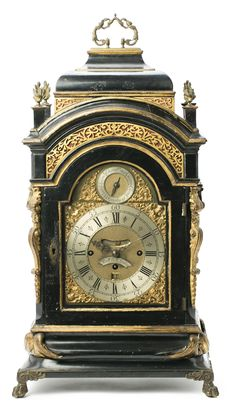 "English table ""Bracket"" clock by Richard Vick with ebonized wooden box with applications in gilded bronze and gilded wood, 2nd half of the 18th century"