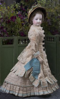 """18"""" (46 cm) Beautiful Antique French FG Gaultier fashion doll size 4 with antique Ensemble, c.1875"""
