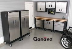 The Garage Project Storage and Organization Solutions: Slatwall Accessories - Garage Wall Systems - Flooring - Wall Mount Tool & Sports Organizers. Garage Organization, Garage Storage, Locker Storage, Garage Cabinets, Wood Cabinets, Finished Garage, Door Stays, Stainless Steel Cabinets, Cabinet Dimensions