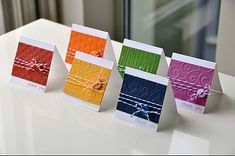 """Monday, September Rainbow Set of Cards """"Love these simple Cuttlebug/short sentiment/twine/button cards! Cricut Cards, Stampin Up Cards, Button Cards, Embossed Cards, Small Cards, Card Making Inspiration, Cute Cards, Easy Cards, Gift Cards"""