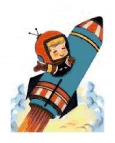 Vintage Retro Boy in Rocket Ship PDF Cross-Stitch Pattern | BellaStitchery - Sewing and Fabric Supplies on ArtFire
