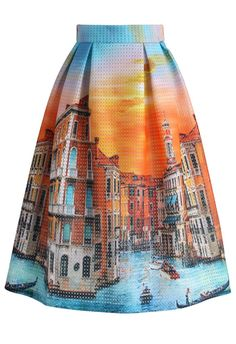 Sunset in Venice Pleated Midi Skirt - Retro, Indie and Unique Fashion