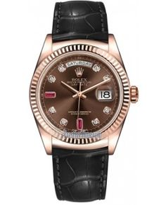 Best Fake Rolex Day-Date 36mm Everose Gold Domed Bezel Midsize Watch 118135 Chocolate Diamond Ruby Leather