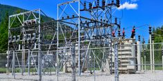 Power transmission is the moving of electrical energy from the source to the end user. It includes the transmission substation and the distribution substation. Electrical Energy, Electrical Engineering, Electrical Substation, Print Ideas, Outdoor Structures, Technology, Board, Plants, House