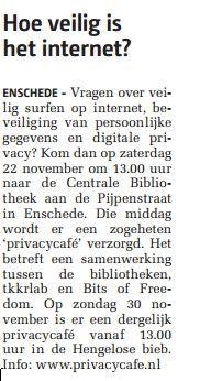 Privacycafé. Huis aan Huis 19/11/2014.