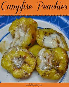 Campfire Peachies #recipes. Camping recipes. Campfire Peach S'mores