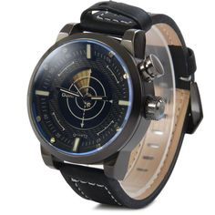 Oulm 3558 LED Scanning Leather Band Men Double Movt Watch #>=#>=#>=#>=#> Click on the pin to check out discount price, color, size, shipping, etc. Save and like it!