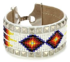 "Streets Ahead 1 1/2"" Beaded with White Studded Leather Trim Cuff Bracelet Streets Ahead. $60.00. Fastens with old silver-tone clasp imported from Spain. Total cuff weight 10 grams. Made in United States"
