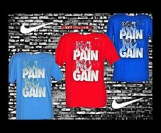 MEN'S NIKE T-SHIRT KNOW PAIN KNOW GAIN NO YOU PICK NEW 100% AUTHENTIC ORIGINAL #NIKE #GraphicTee