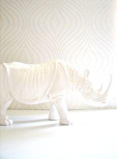 Large Rhinocerous Animal Statue  office unique by mahzerandvee, $52.00