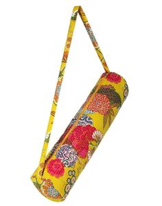 Stylish Yoga Mat Bag - Hand Embroidered in India With Quality Full Zipper & Strap (Yellow)