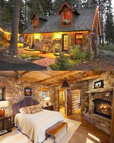 Lobe the wood and fireplace in the bedroom how Village House Design, Village Houses, Guest Cabin, Fairytale Cottage, Log Cabin Homes, Cabins And Cottages, Cabin Design, Cozy Cottage, Cabins In The Woods