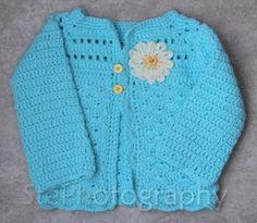 6-12 Month Robin's Egg Daisy Sweater (crochet)