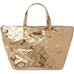 Louis Vuitton Women's Vintage Louis Vuitton x Sylvie Fleury Miroir... ($1,795) ❤ liked on Polyvore featuring gold