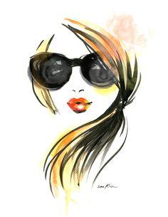 Print art illustration Fashion Girl dans lunettes de soleil by sookimstudio | Etsy