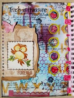 art journal page I created - the little owl card is vintage from a drawer at my parents house lol - www.justaboutthedetails.com