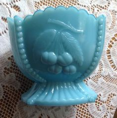 Blue Milk Glass Cup Bowl Vase Dish 3 1 2 inches Maybe Vintage Antique Fenton | eBay