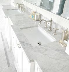 Super white granite for elegant bathroom countertops. Bathroom Vanity Tops, Bathroom Renos, Master Bathroom, Bathroom Cabinets, Bathroom Grey, Bathroom Images, Bathroom Modern, Bathroom Hardware, Bathroom Designs