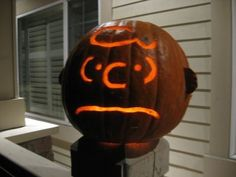 "Brings a new meaning to the phrase ""pumpkin head."" Good grief! For all your carving needs, check out Pumpkin Masters' tools: http://www.pumpkinmasters.com/. Charlie Brown themed pumpkin via Ken Jennings."