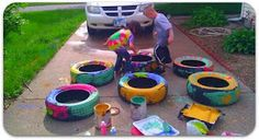 Have the kids paint tires to plant gardens in...