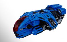 When the Space Police want to move something this is what they use.  I've been a bit busy so more pictures will have to wait but this is the one you want to see, the big blue in classic 3/4 profile. I hope you like it, it took ages!