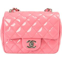 Chanel Pink Patent Leather Mini Flap Bag ($1,999) ❤ liked on Polyvore featuring bags, handbags, new arrivals, pink, purse crossbody, red patent leather purse, crossbody shoulder bags, red patent handbag and handbags crossbody