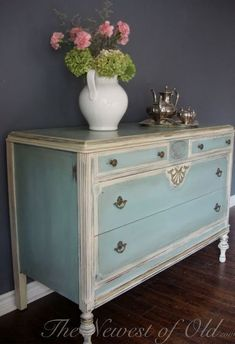 I like the blue color paired with antique white and the color of the hardware #shabbychicdressersdiy #shabbychicdresserscolors #shabbychicdressersblue
