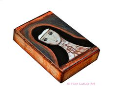 Saint Clare   Giclee print mounted on Wood 4 x 5 by FlorLarios