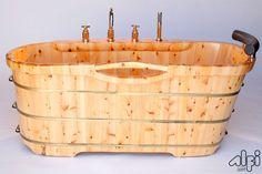 ALFI brand AB1136 61'' Free Standing Cedar Wooden Bathtub with Tub Filler
