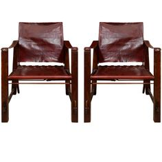 Safari Leather Chairs | From a unique collection of antique and modern armchairs at http://www.1stdibs.com/furniture/seating/armchairs/