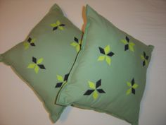 pastel green, diamond, flowers patch pillow pair, home decor