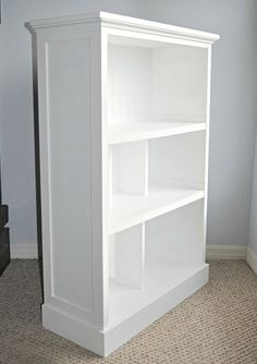 Bookcase-Makeover from old cheap bookcase love to do this for kylie!!