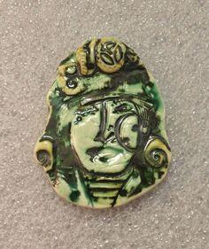 by Sheri Mallery, Steampunk Handmade Lady Face Ceramic Pendant  Goth by SlinginMud.etsy.com
