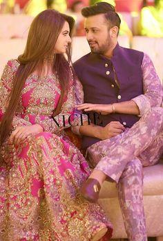 Atif Aslam with his wife at Recent Wedding - Style. Pakistani Wedding Outfits, Pakistani Dresses, Indian Outfits, Bridal Outfits, Bridal Mehndi Dresses, Pakistan Wedding, Bollywood Couples, Royal Clothing, Engagement Dresses