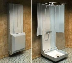 It's a folding shower especially designed for small bathrooms where space is always a problem.