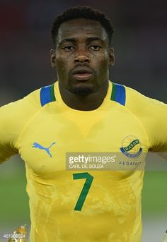 Gabon's forward Malick Evouna poses ahead of the 2015 African Cup of Nations group A football match between Gabon and Congo in Bata on January 21...