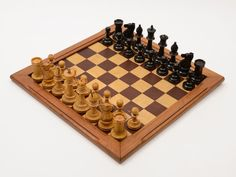 Edwardian Stained Box Wood Chess Set with Glass Eyes (ID 48097) by…