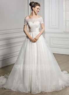 A-Line/Princess Off-the-Shoulder Court Train Organza Satin Lace Wedding Dress With Ruffle Beading Sequins (002056954)